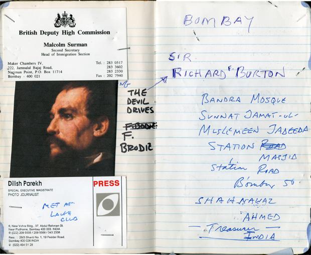 صفحاتی از یادداشتهای استیو مککوری در بمبئی